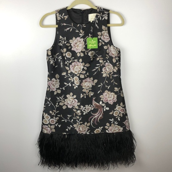 Kate Spade Madison Ave Floral Black Feather Dress